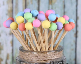 Pastel Rainbow Lollipop Sticks, Rainbow Cake Pops Sticks, Rock Candy Sticks, Easter Cake Pop Sticks, Dessert Skewers, Wooden Sticks (12)