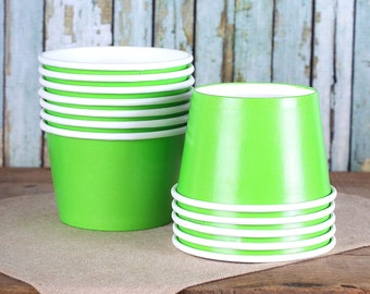 Large Lime Green Paper Ice Cream Cups, Ice Cream Bowls, Sundae Cups, Ice Cream Party Cups, Dessert Cups, 8 oz Ice Cream Party Cups (18)