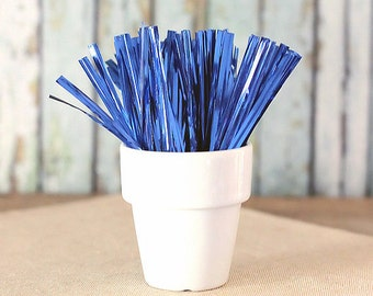 Metallic Dark Blue Twist Ties, Blue Wedding Favor Ties, Blue Party Favors, Cellophane Candy Bag Ties, Candy Buffet Twist Ties (100)