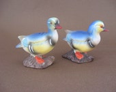 SALE Vintage Colorful Blue Duck Salt and Pepper Shaker Set
