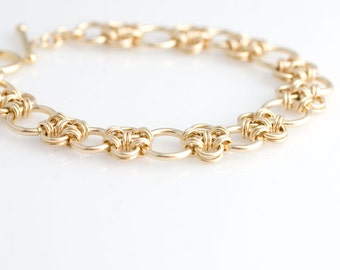 Enso Chainmaille Bracelet in Gold Filled
