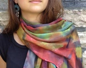 Orgiastic color hand painted silk chiffon scarf