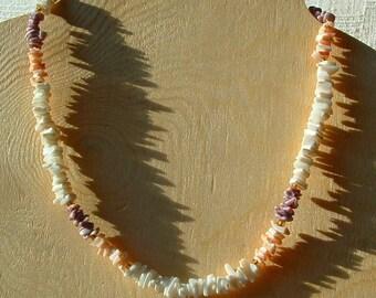 1980's PUKA Bead Necklace - 16 inch Shell Necklace from the Bahamas - Vintage BEACH Boho