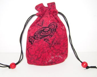 Con-Goer: Linework Bird on Red & Black Leather Pouch - Tarot, Oracle, Runes, Gaming Dice, Anything