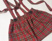 SALE High Waist Suspender Skirt -Red Plaid - Baby Toddler Girl - Adjustable - Mod Trendy - Spring Summer Fall Winter - Christmas Hanukkah