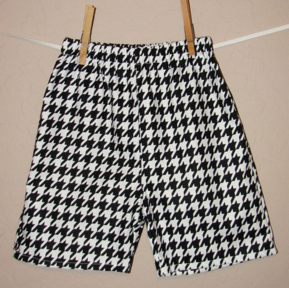 Boys Mod Houndstooth Shorts - Baby Toddler Boys - Matching Tie Shirt OR Custom Design Available - Black and White Modern