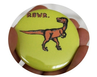 "Dinosaur ""RAWR"" pinback button, velociraptor, T Rex, yellow, Lime green, Orange, Prehistoric"