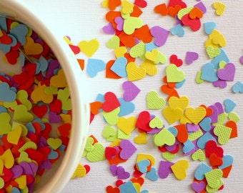 Rainbow wedding - 500 rainbow small tiny paper heart sprinkles - perfect size for Confetti Balloons red orange yellow green blue violet