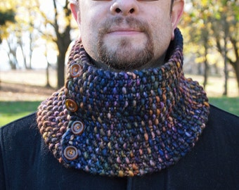 luxurious merino cowl in dark blue and rainbow