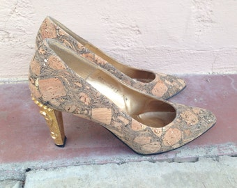 Vintage 1980's Harris' Cork and Gold Heeled Shoes- 7 1/2