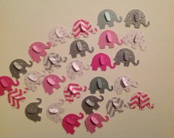 Paper Elephant Confetti   50 pc    Pinks grays  chevrons  glitter         Baby Shower   Party