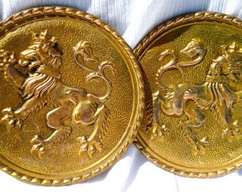 1960s Herald Lion Medieval Brass Wall Pockets