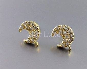 2 crescent moon CZ / Cubic Zirconia stud earrings, earring making supplies, wedding earrings E958-BG (bright gold, earrings, 2 pieces)