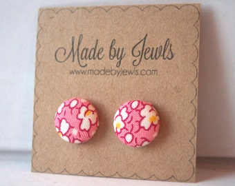 Fabric Button Earrings - Apricot Blossoms  - Buy 3, get 1 FREE