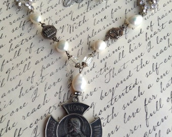 Vintage upcycled Religious Four Way Cross Assemblage Necklace,OOAK,Statement,Repurposed,Jesus Pearl Necklace