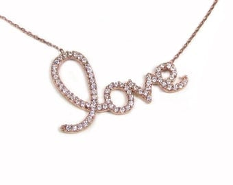 CZ Love Script necklace, Rose Gold Vermeil, Cubic Zirconia, Celebrity Inspired