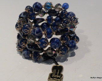 Vintage Hobe Blue Glass Bead Wrap Bracelet with Tag