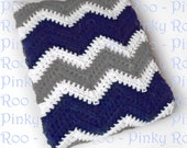 Crib Size Crochet Chevron Baby Blanket in Navy Blue, White and Medium Grey