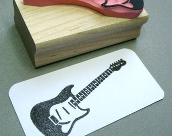 Guitar Stamp - Rock N Roll Guitar Hand Carved Rubber Stamp
