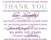 Thank you Wedding Sign - Wedding and Event Signage - Your choice of size and cardstock - Any Color - Customized and ready to frame