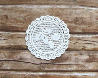 White plastic doily for dollhouse in 1:12 scale