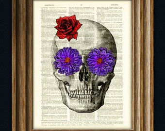 Skull with flowers for Eyes Day of the Dead art print over an upcycled dictionary page book art print