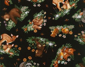 RJR Fabrics, Woodland Tails in Black, 1 yard