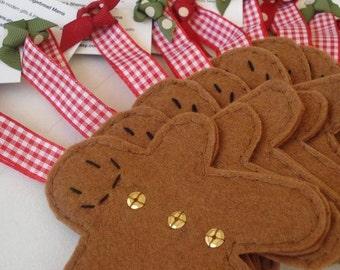 Handmade felt gingerbreadmen christmas/holidays tree decorations