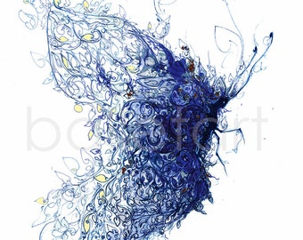 whimsical art, cobalt blue, art print, Butterfly art, wedding gift, trending items, blue art print, whimsical prints, blue wall art, artwork
