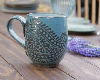 14 oz. Mug, Paisley, Choose Color - 2 weeks processing time
