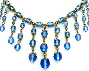Beautiful Circa 1920s  Art Deco Blue Czech faceted Brass Capped Vintage Fringe Bib Necklace