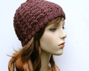 Beanie Hat in Taupe Hand Crocheted