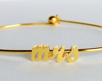 Tiny Gold Script mrs…Gold Cursive letter bracelet. Small Initial Bracelet...wedding bride jewelry gift idea