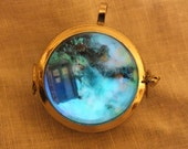 Police Box Spaceship Glow In The Dark Orb Necklace, Custom Space Ships Available