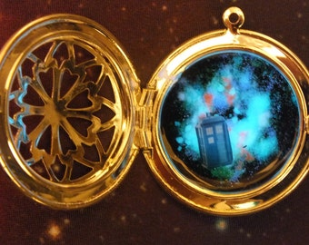 Police Box Spaceship Glow In The Dark Locket Necklace, Custom Space Ships Available