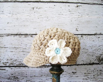 Crochet Hats for Girls,Crochet Newsboy Hat,Accessories, Brim Hat with  Flower,Crochet Baby Hat