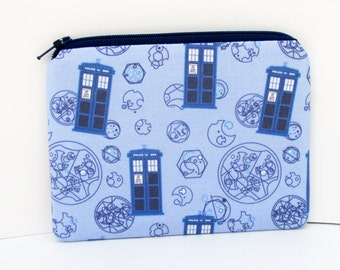 Small Zippered Pouch, Police Boxes in Blue, Geekery Art