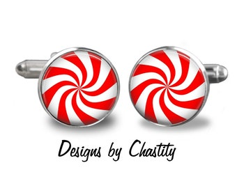 Candy Cane Cufflinks - Happy Holiday - Red and White Stripped