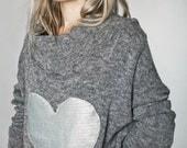 SALE 20% !!!! new Silver heart bat sleeve oversized sweater in GREY