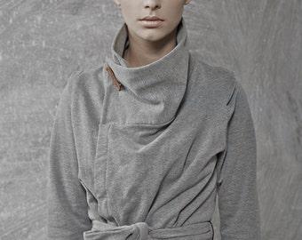 wrap sweater jacket - cardigan sweater - wrap jacket - wrap top - cozy sweater - chunky sweater - gray sweater - WrapSweatCard