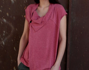 under 50,  Wrap asymmetrical top in pink