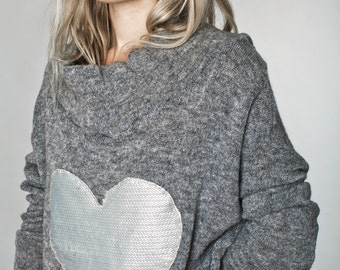 gray sweater - oversized sweater - cowl neck sweater - long sweater - womens sweaters - knit sweater - pullover sweater - HeartSweatPull