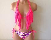 Coral fringe bikini top with giraffe bottoms