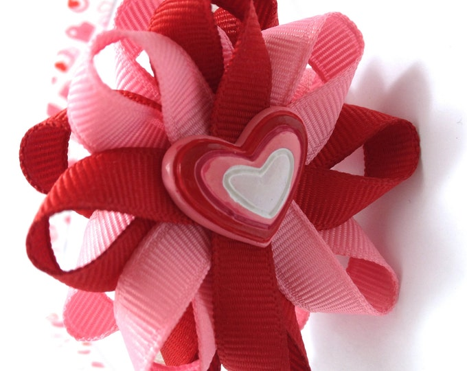 Pink, Red Valentine's Heart Hair Bow Headband