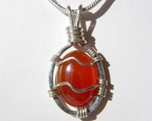 Carnelian Agate Pendant Wrapped in Sterling Silver Wire