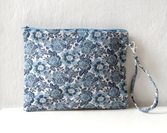 Blue Floral  Clutch  purse, Zip Pouch, wristlet, women  fashion - Summer sale
