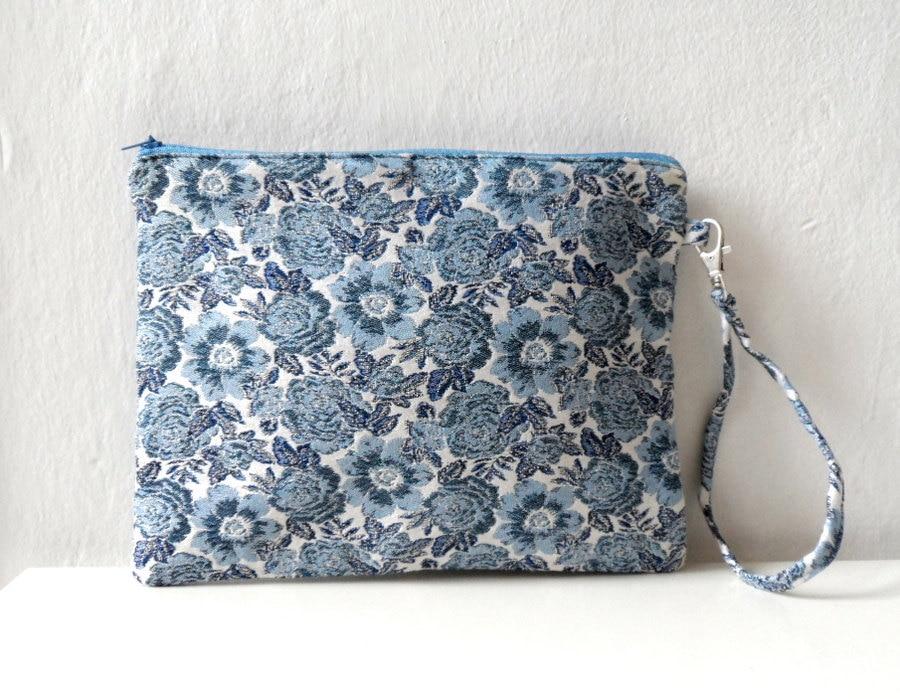 Blue Floral Clutch Purse Zip Pouch Wristlet Women