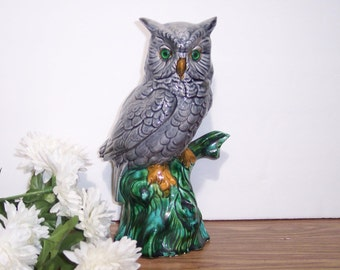 Gray Ceramic Owl Statue in a Green Tree. Gray Owl with Green Eyes. Vintage. 4549