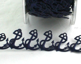 "Nautical Ribbon, Anchor Ribbon, Navy Blue Anchor Trim, 1/2"" wide by the yard, Anchor Trim, Weddings, Gift Wrapping, Crafts, Invitations"