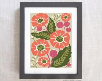 Modern Home Decor Art Print Floral Illustration